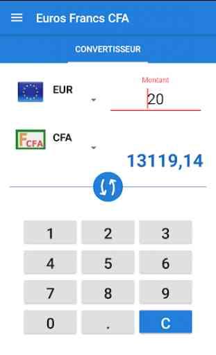 Convertisseur Francs CFA Euros 1